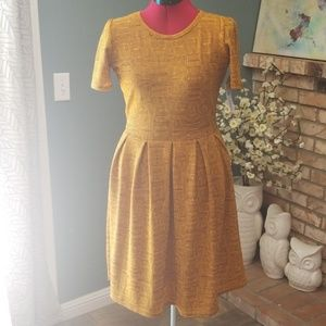 LuLaRoe Amelia Dress Golden Mustard Brown Medium